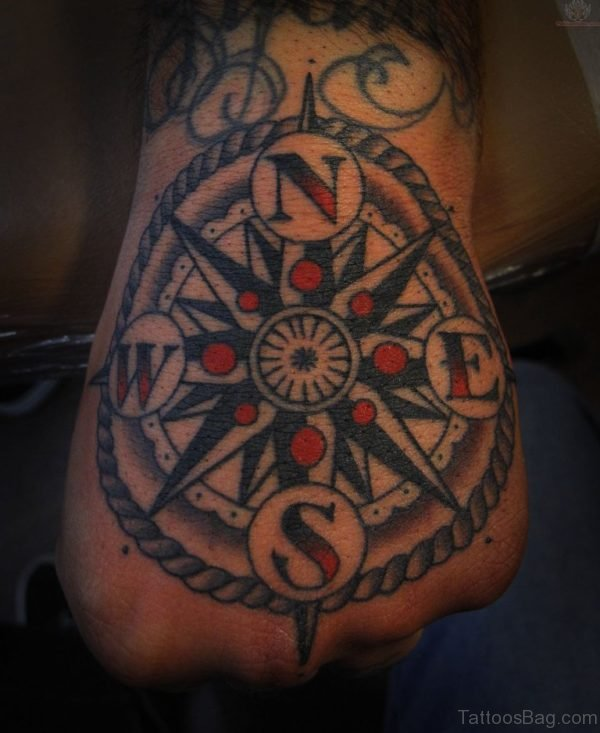 Color Ink Compass Tattoo