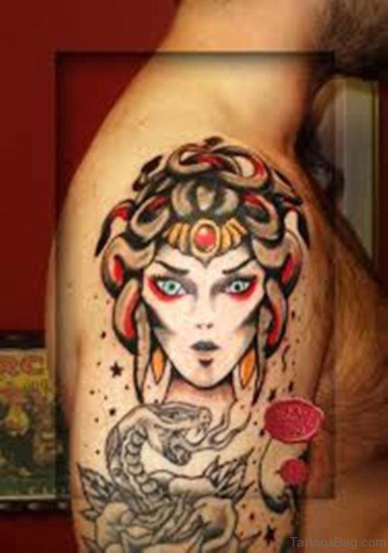 Color Medusa Tattoo on Shoulder