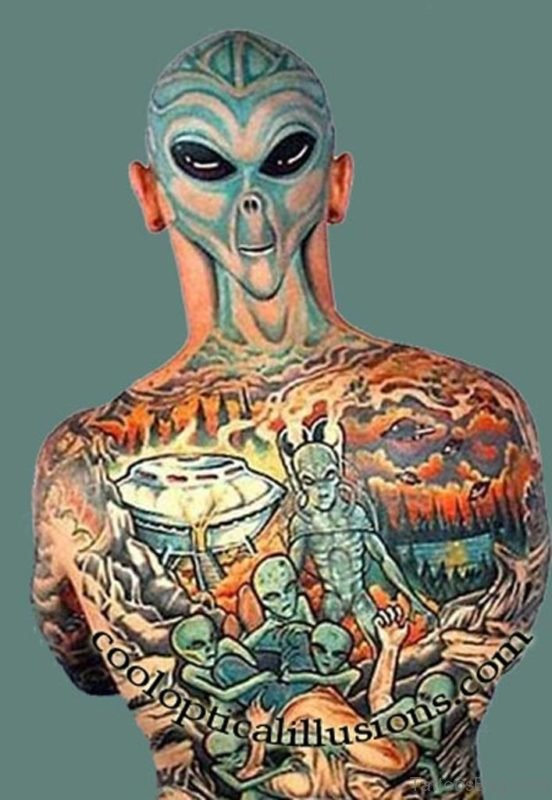 Colored Alien Tattoo