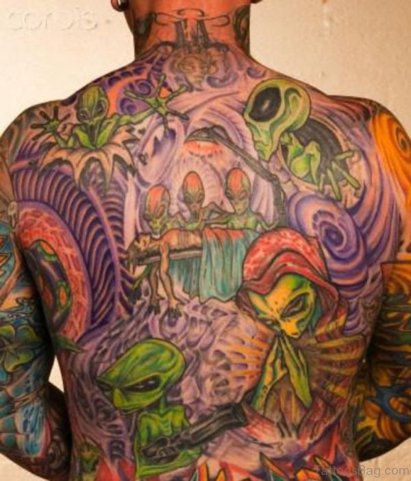 Colored Alien Tattoo On Back