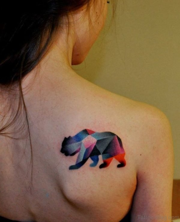 Colored Bear Tattoo On Back