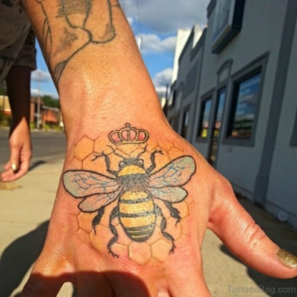 Colored Bee Tattoo