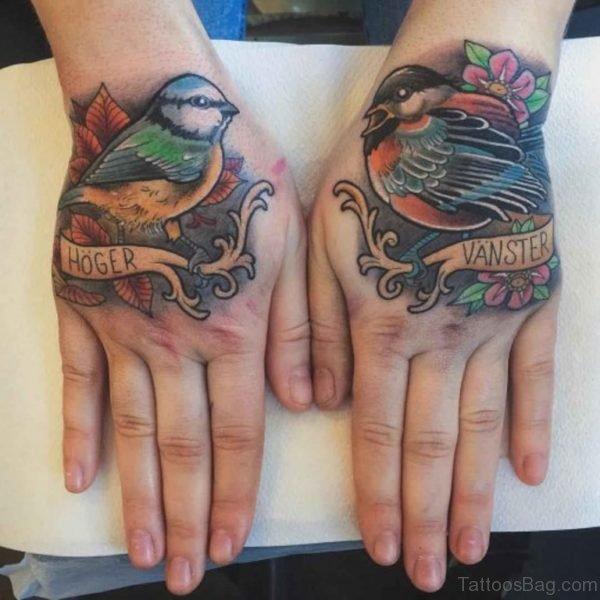 Colored Bird Tattoo On Hand