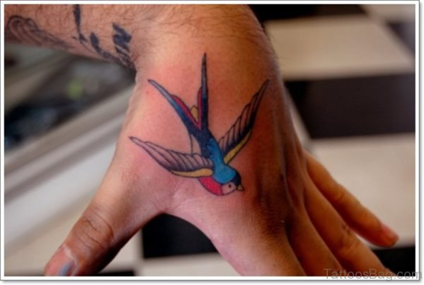 Colored Birds Tattoo On HAnd