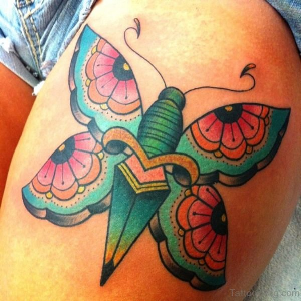 Colored Butterfly Tattoo On Thigh