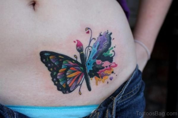Colored Butterfly Tattoo On Waist