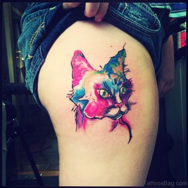 Colored Cat Head Tattoo On Thigh
