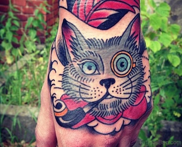 Colored Cat Tattoo On Hand