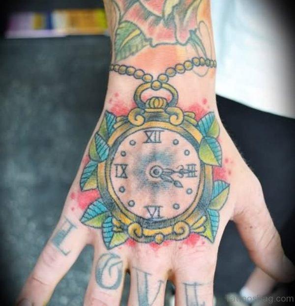 Colored Clock Tattoo