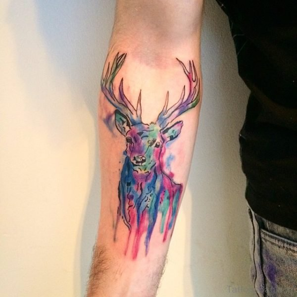 Colored Deer Tattoo On Arm
