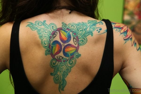Colored Dreamcatcher Tattoo On Back