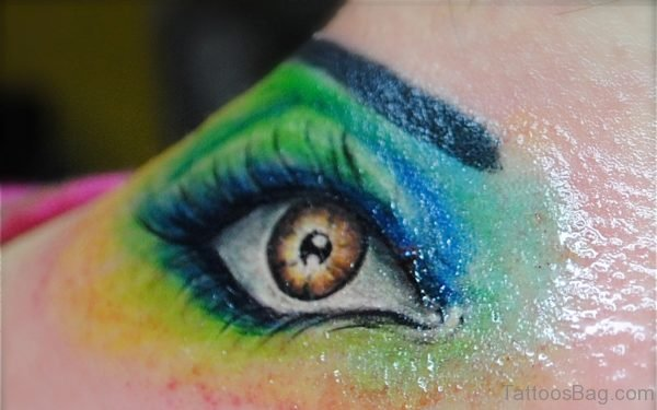 Colored Eye Tattoo On Nape
