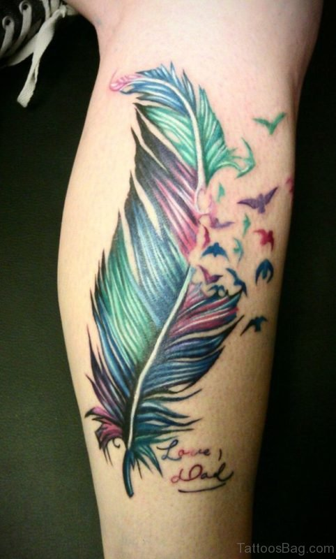 Colored Feather Tattoo
