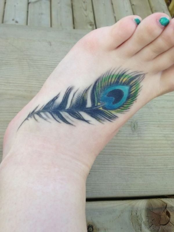 Colored Feather Tattoo On Foot