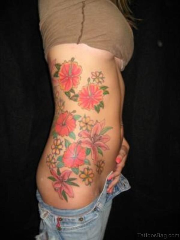 Colored Flower Tattoo Design