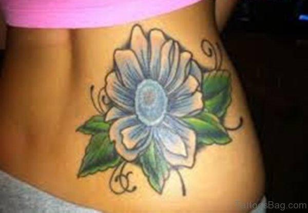Colored Flower Tattoo On Waist