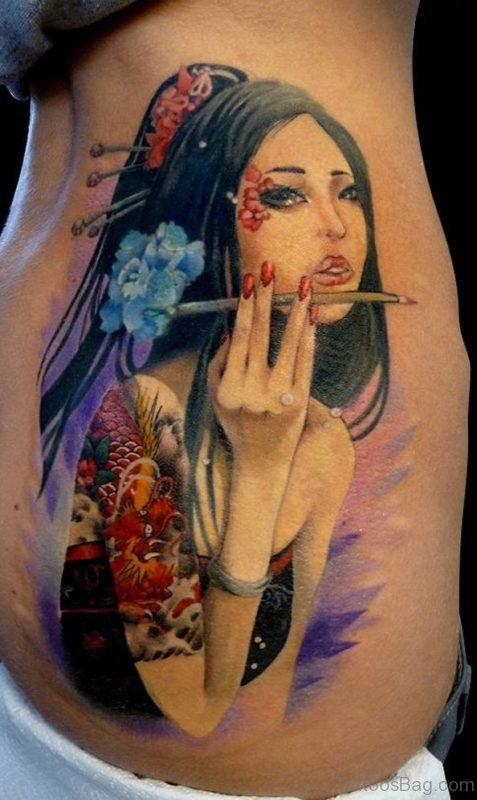 Colored Geisha Girl Tattoo On Rib