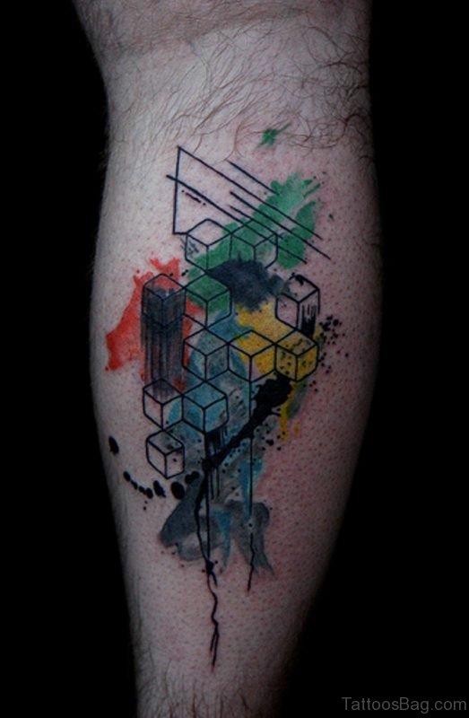 Colored Geometric Tattoo On Arm