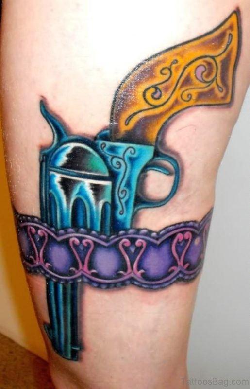 Colored Gun Tattoo