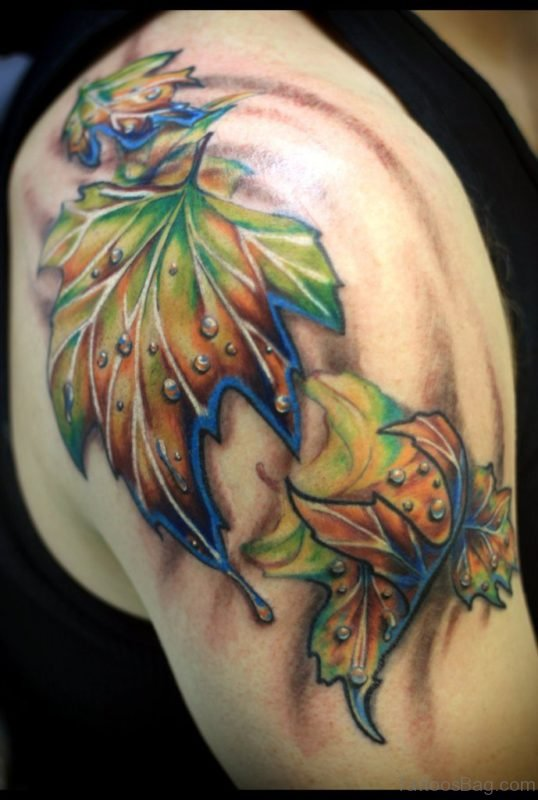 Colored Leaf Tattoo On Shoulder