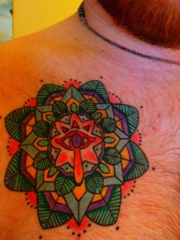 Colored Mandala Tattoo On Chest