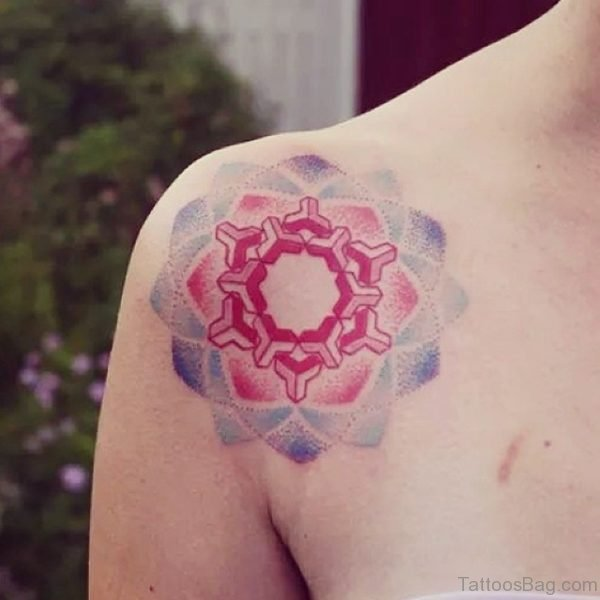 Colored Mandala Tattoo On Shoulder