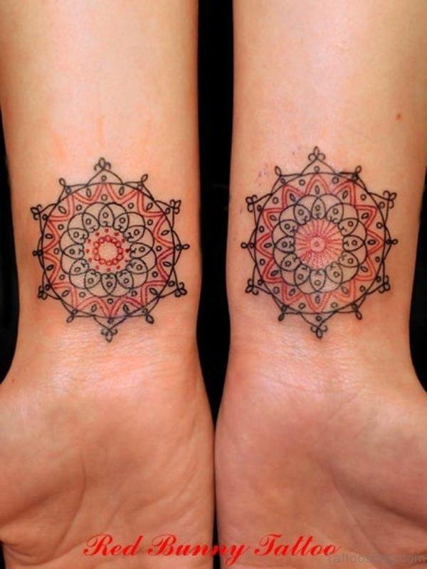 Colored Mandala Tattoo On Wrist