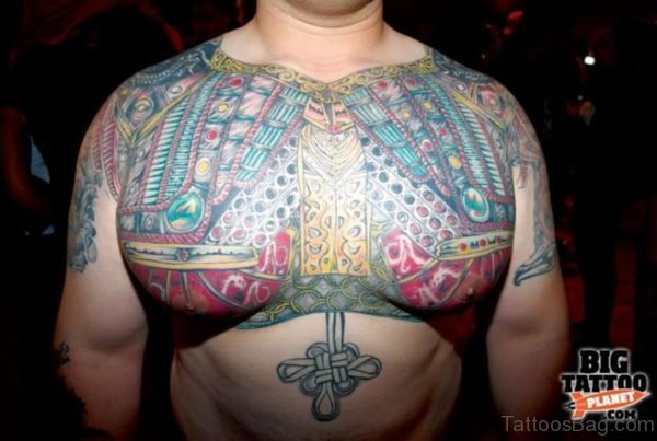 Colored Mechanical Tattoo On Man Chest