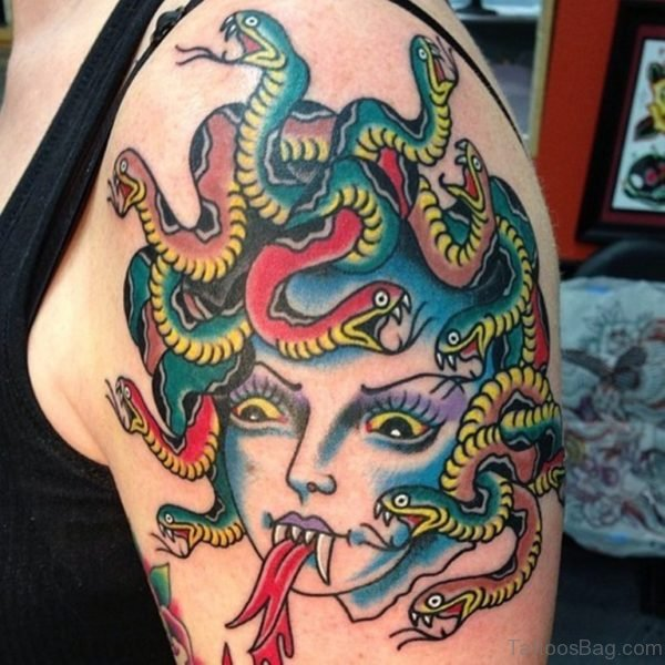 Colored Medusa Head Tattoo On Shoulder