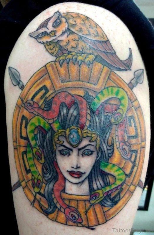 Colored Medusa Tattoo On Shoulder