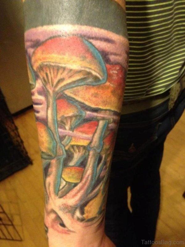 Colored Mushroom Tattoo On Arm