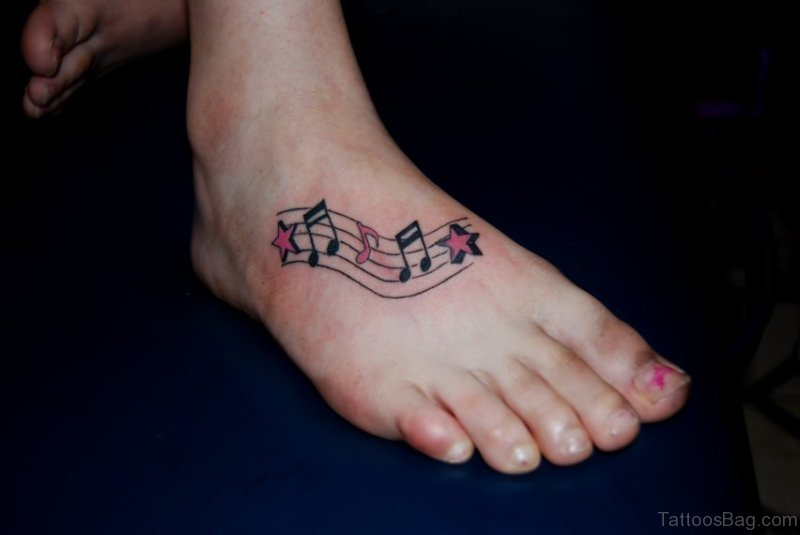 32061eed2 52 Adorable Musical Note Tattoo On Foot