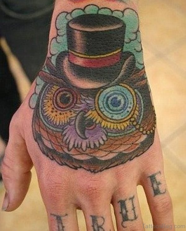 Colored Owl Tattoo