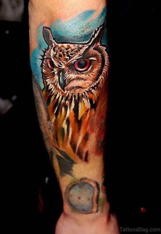 Colored Owl Tattoo On Arm