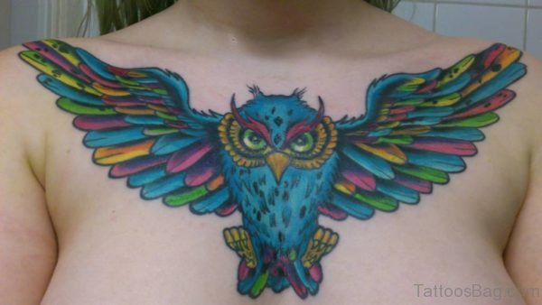 Colored Owl Tattoo On Chest