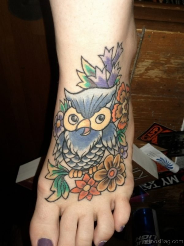 Colored Owl Tattoo On Foot