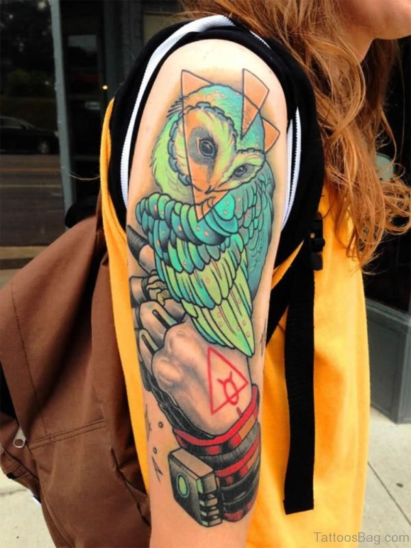 Colored Owl Tattoo On Half Sleeve