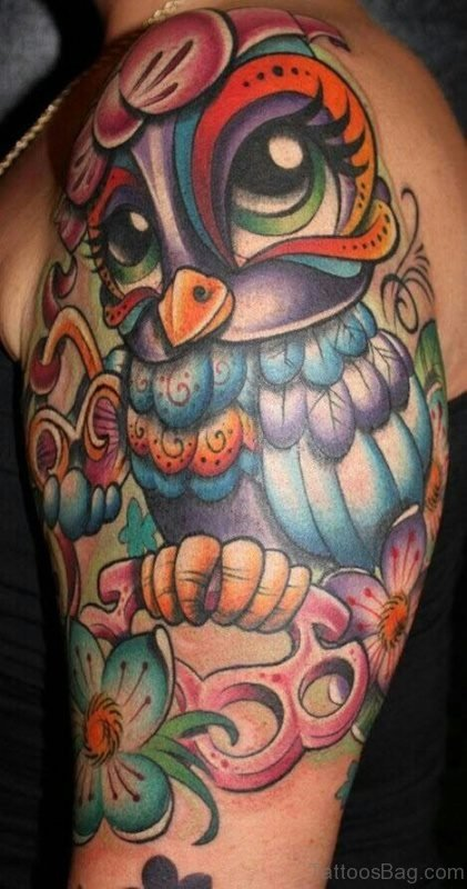 Colored Owl Tattoo On Shoulder