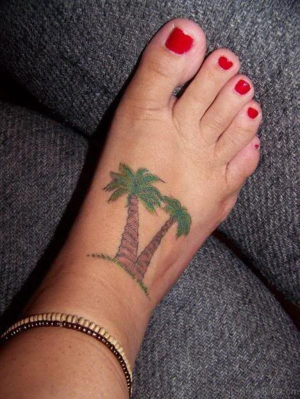 Colored Palm Tree Tattoos On Girl Right Foot