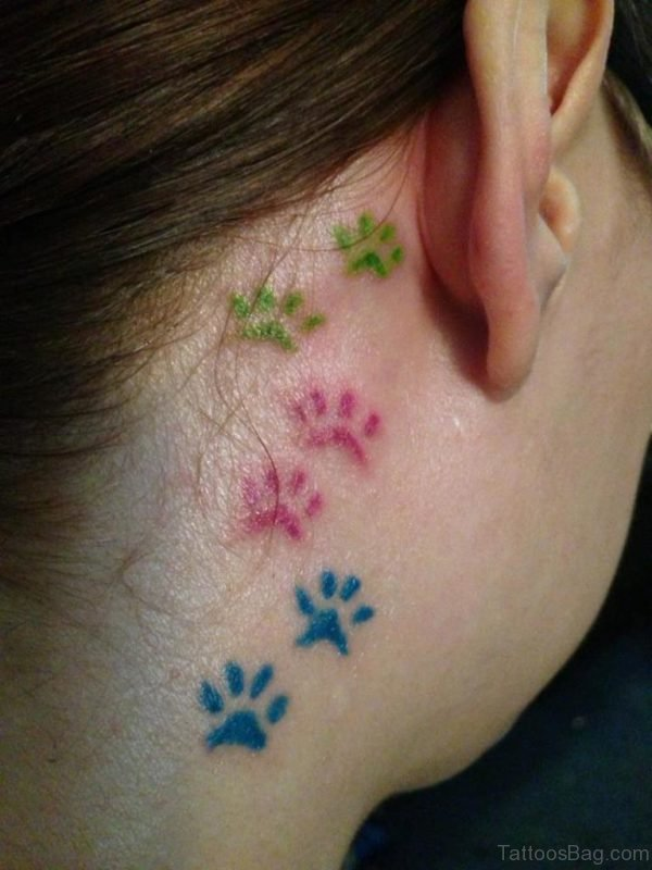Colored Paw Print Tattoo On Neck