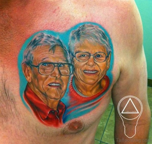Colored Portrait Tattoo On Chest