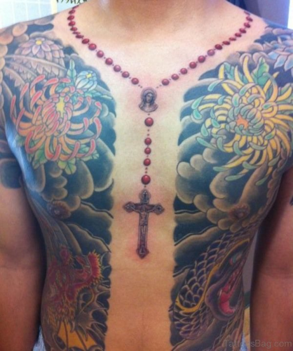Colored Rosary Tattoo