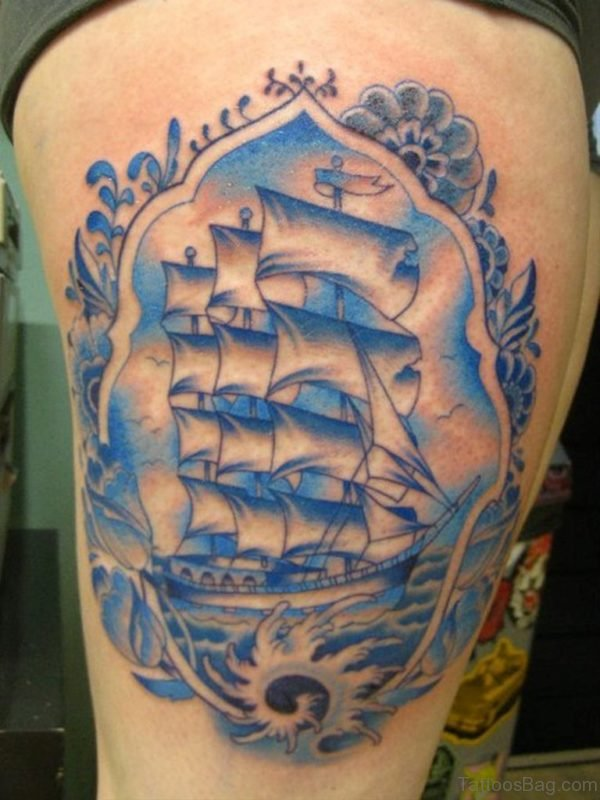 Colored Ship Tattoo On Thigh
