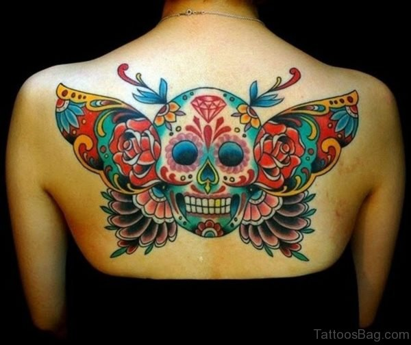 Colored Skull Tattoo Design On Back
