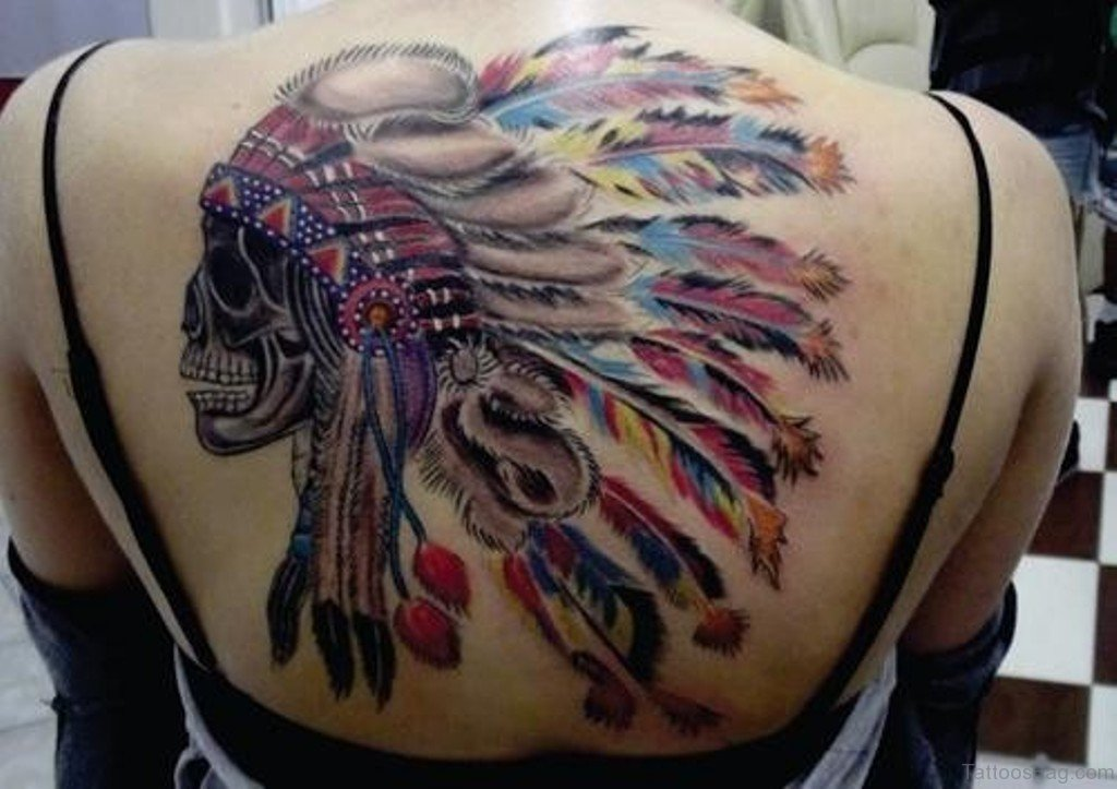 80 good looking skull tattoos on upper back for Color skull tattoos