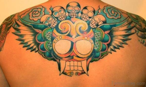 Colored Skull Tattoo On Upperback