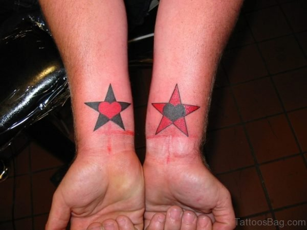 Colored Star Tattoo On Wrist