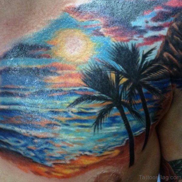 Colored Tree Tattoo On Chest