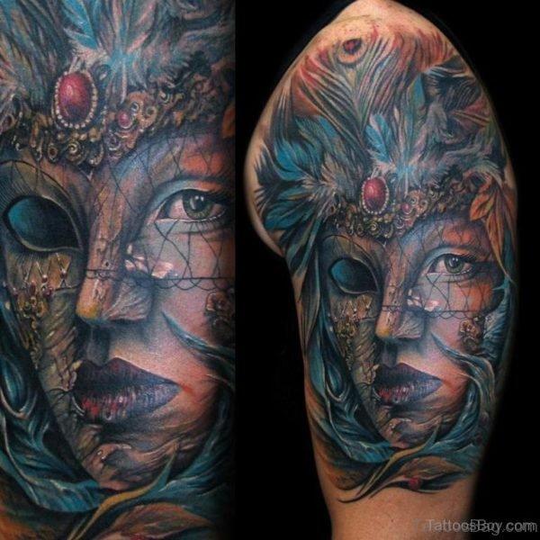 Colored Venetian Mask Tattoo Design
