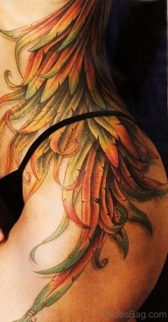 Colored Wings Tattoo On Waist ST1088
